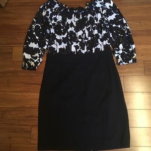 inc black and white floral midi dress.